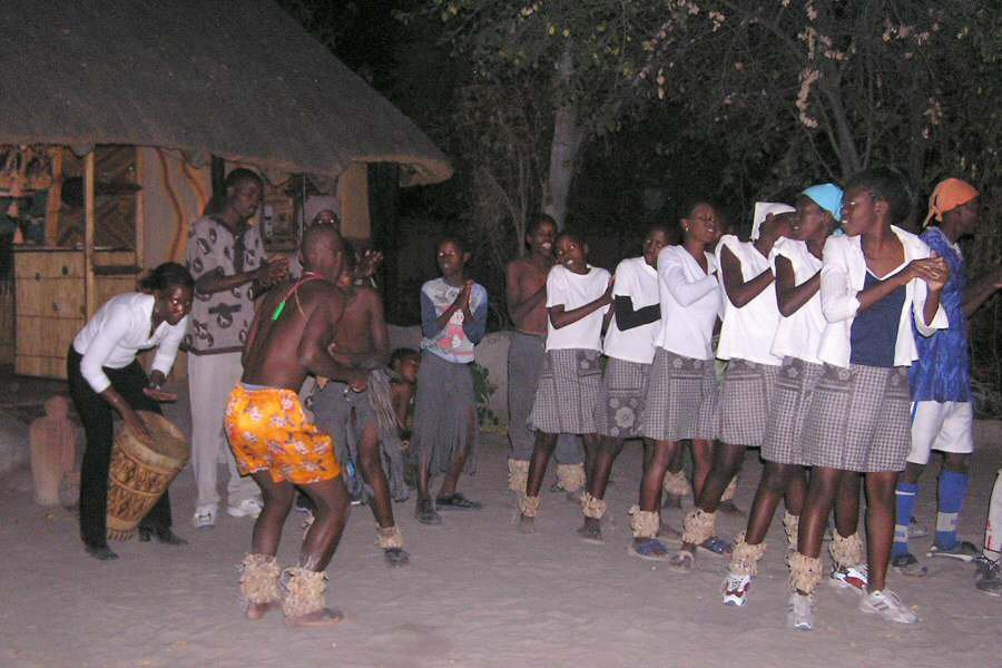 Evening entertainment at Betty's Discovery B&B in Maun, Botswana - ExplorationVacation
