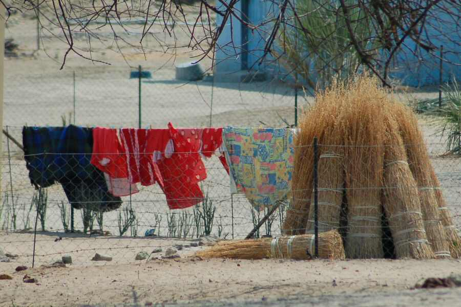 laundry and bundles of reeds