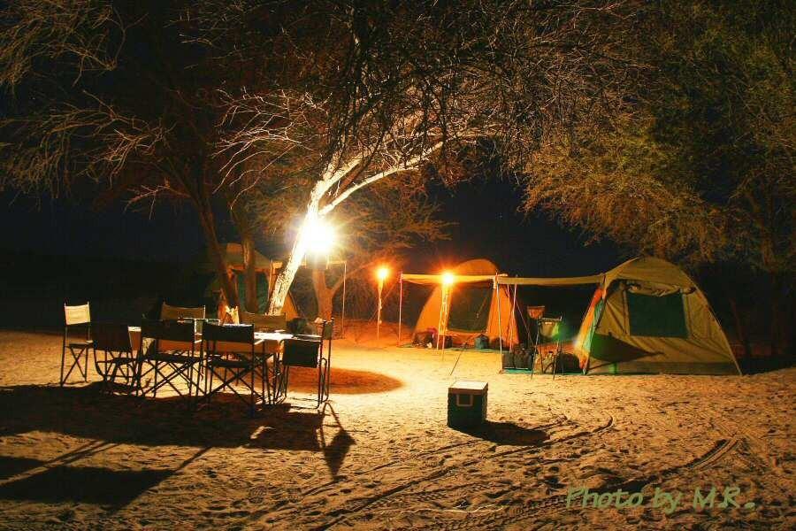 Kalahari camp after dark