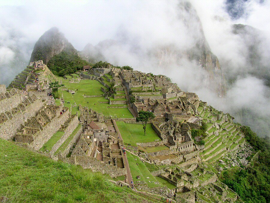 overview of Machu Picchu with a few clouds