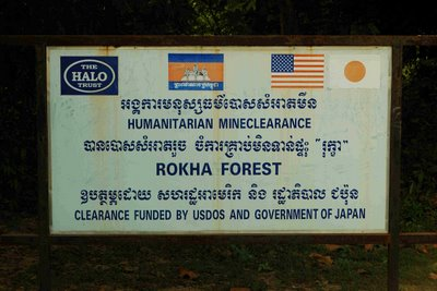 mine clearance sign in Cambodia