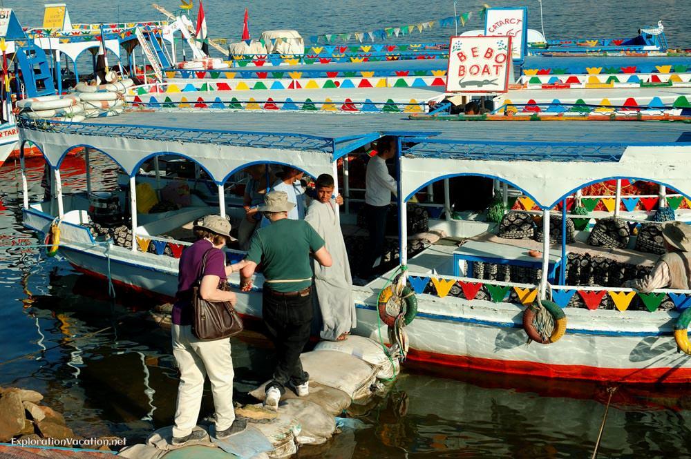 boarding a small river boat