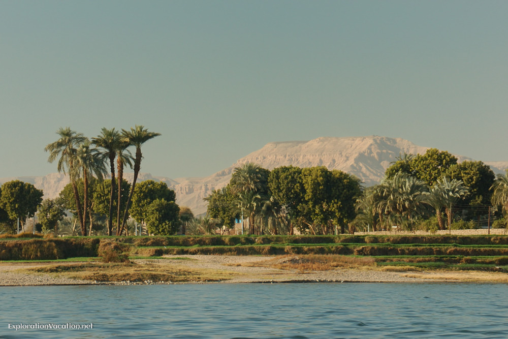 river bank with trees and distant mountains