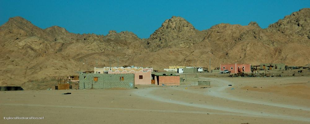 buildings scattered in the desert