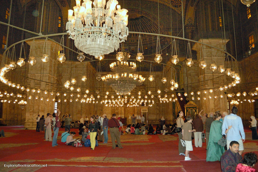 mosque interior with chandeliers