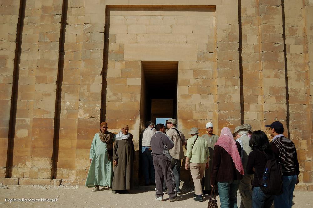 entering the temple at Saqqara