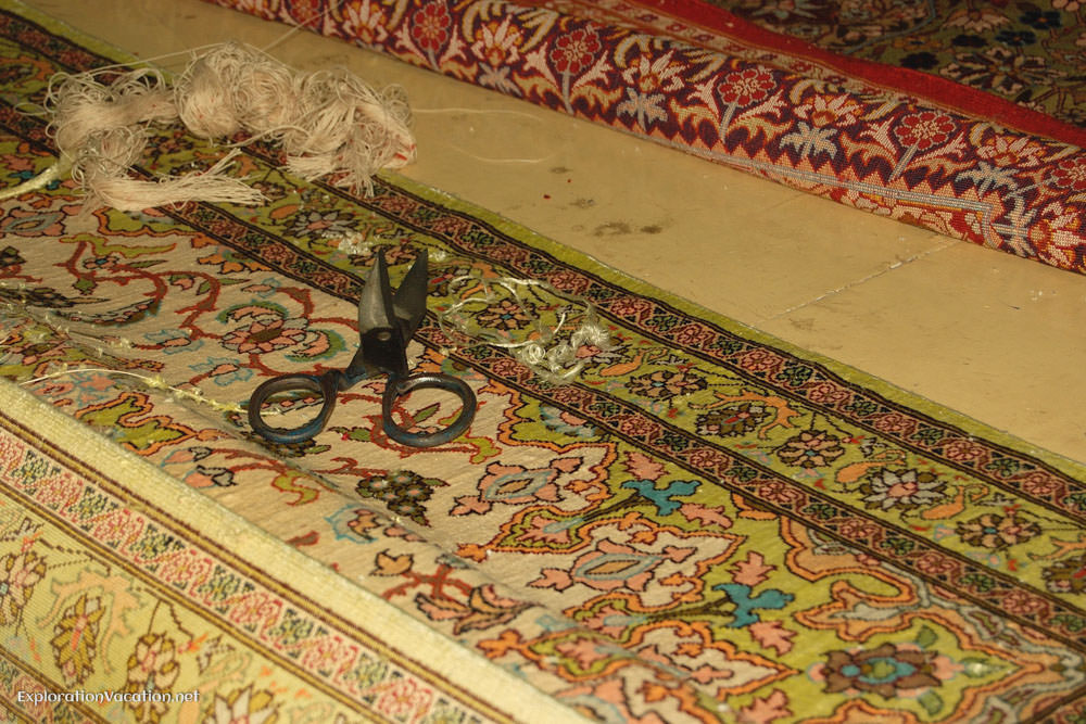 detail of loom with carpet