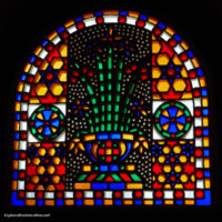 colored glass window in church
