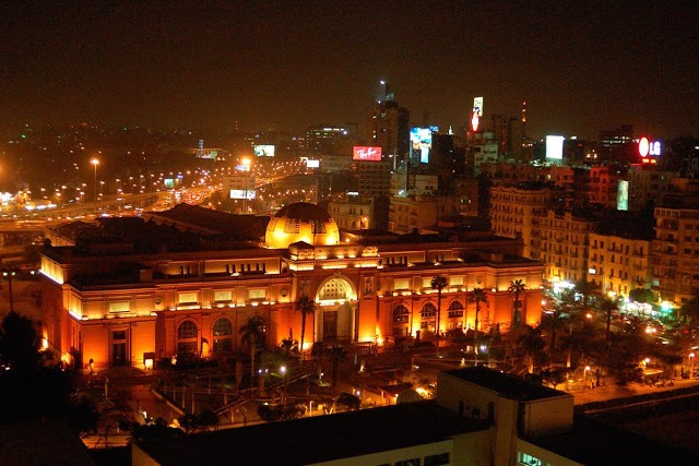 Egyptian museum from above at night