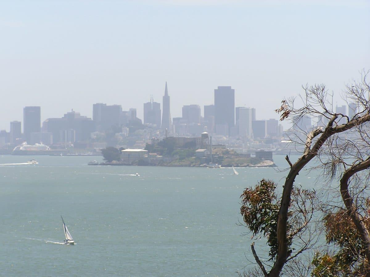 view of the city over Alcatraz