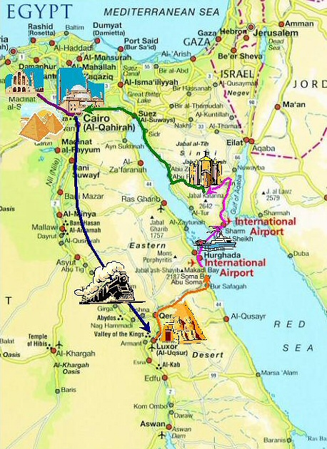 map of Egypt with route