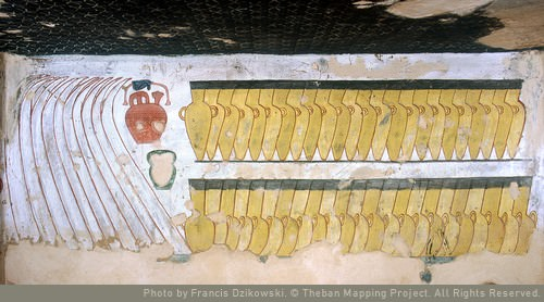 painting of jars on a tomb wall
