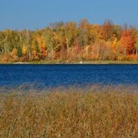 fall along a northern lake
