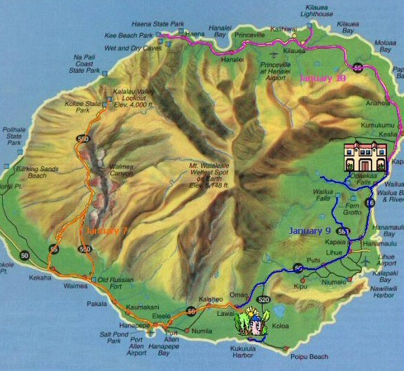 Kauai travel map - ExplorationVacation.net