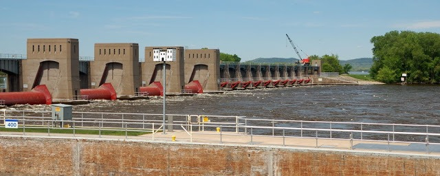 lock and dam from just above the river