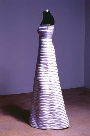 evening gown made of zippers