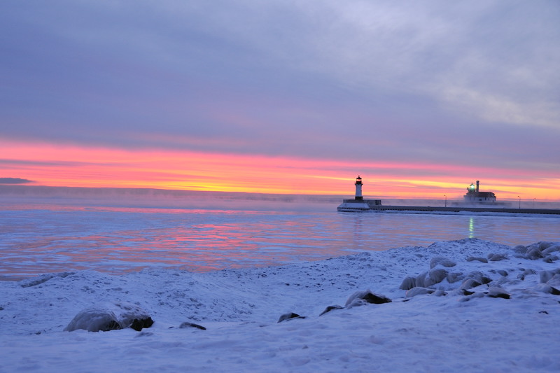 Duluth harbor light at dawn