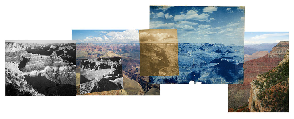 "Mark Klett and Byron Wolfe, 2007. ""One hundred and five years of photographs and seventeen million years of landscapes; Panorama from Yavapai Point on the Grand Canyon connecting photographs by Ansel Adams, Alvin Langdon Coburn, and the Detroit Publishing Company"" at the Phoenix Art Museum - ExplorationVacation"