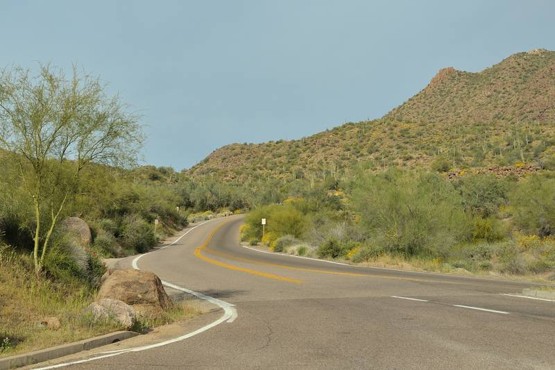 road through desert hills