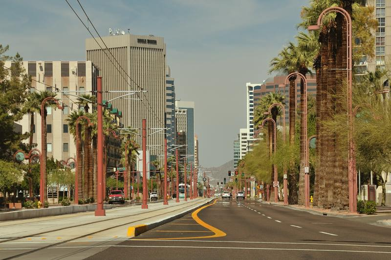 Rail infrastructure in the heart of downtown Phoenix, Arizona - ExplorationVacation.net