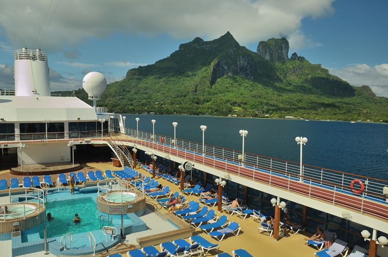 cruise ship deck and island of Bora Bora