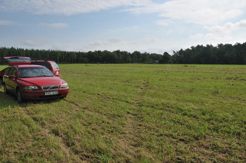 field with cars