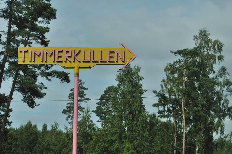 Sign for Timmerkullen in rural Sweden - ExplorationVacation