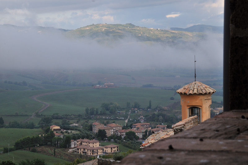 hills and rooftops around Orvieto with low clouds