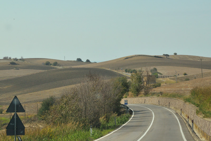 road through brown rolling fields
