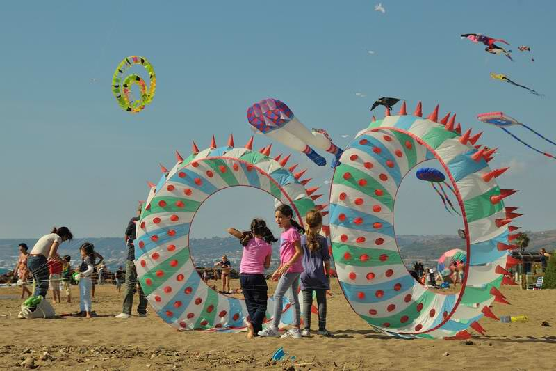 children with giant kites