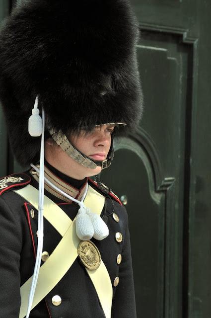 Royal Danish Life Guard at Amalienborg Slot royal palace in Copenhagen, Denmark - ExplorationVacation.net 12-DSC_2366