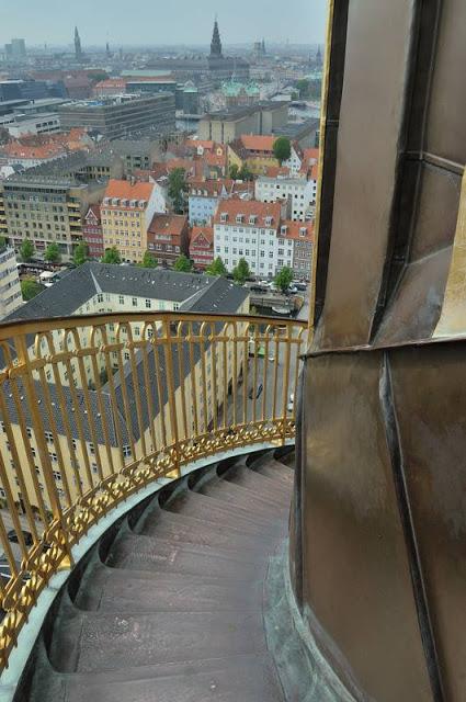 Stairs along the outside of the steeple of Vor Frelsers Kirke (Our Savior's Church) in Copenhagen, Denmark - ExplorationVacation.net 6-DSC_2072