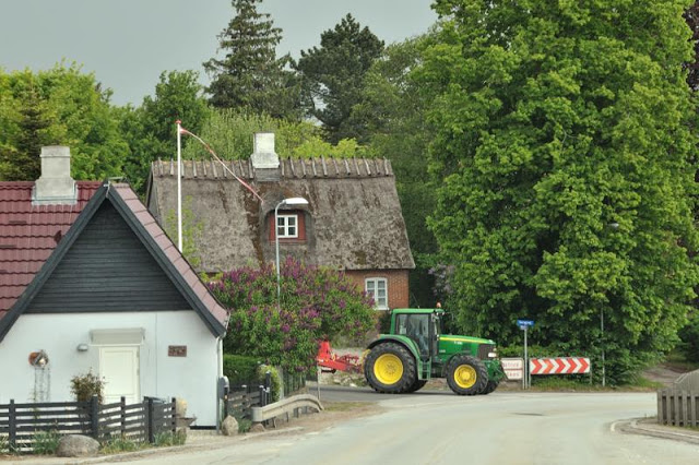 Danish village with John Deer tractor