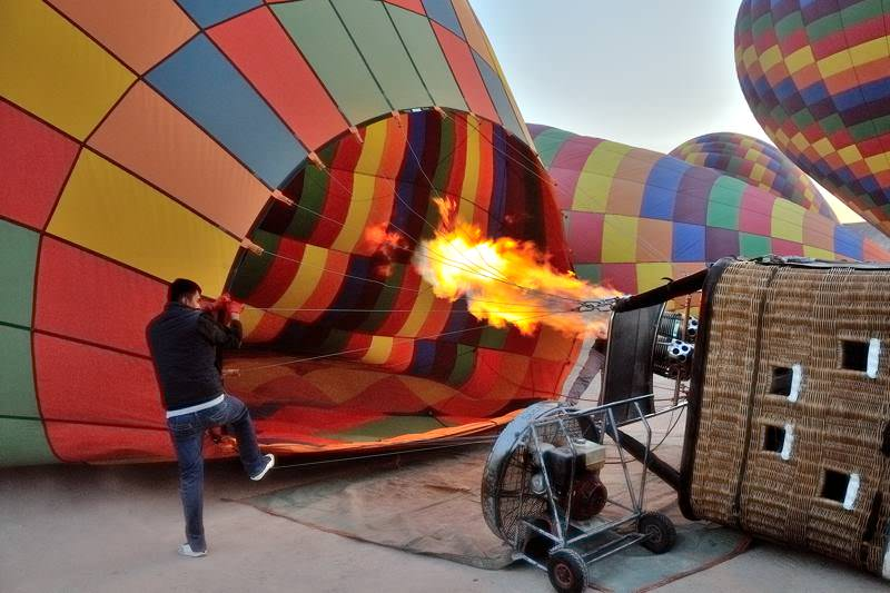 filling a hot air balloon