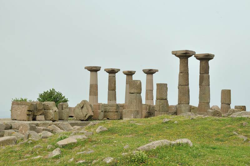 Roman pillars in the countryside
