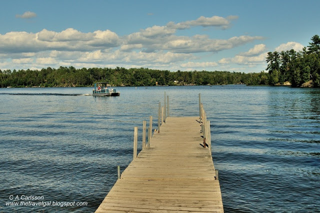 dock into the water with a pontoon arriving