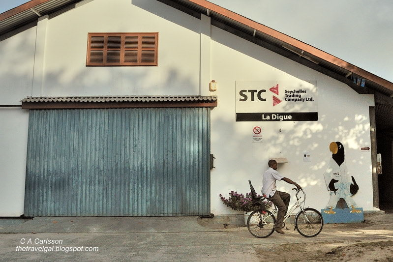 building with man on a bike