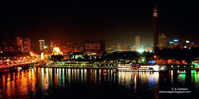 night view across the Nile in Cairo