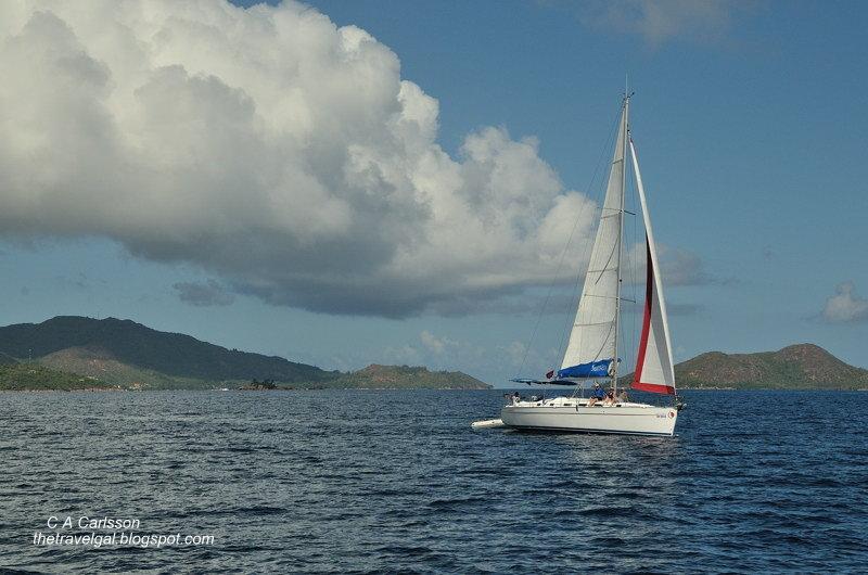 sailboat and islands