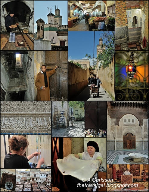 collage of architecture, markets, and more in the Fes medina