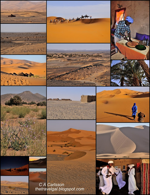 Collage of scenery around Erg Chebbi
