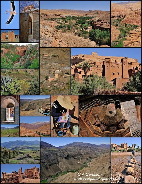 collage of kasbahs and mountains,