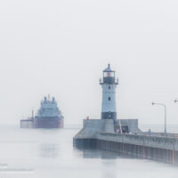 Duluth harbor in fog