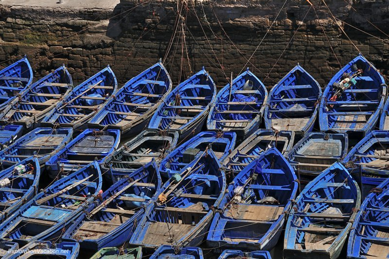 Morocco 10 DSC_8458 blue boats in Essaouira's harbor