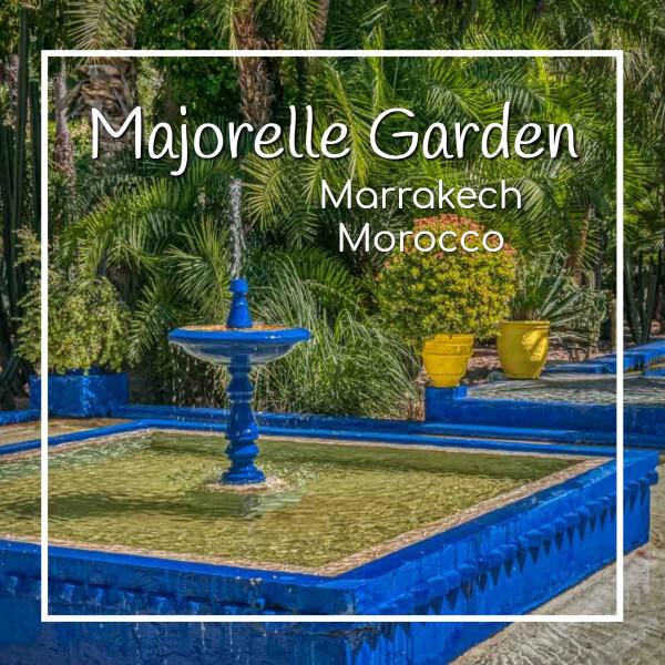 """fountain with text """"Majorelle Garden Marrakech Morocco"""""""