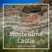 "cliff dwelling with text ""Arizona's Montezuma Castle"""