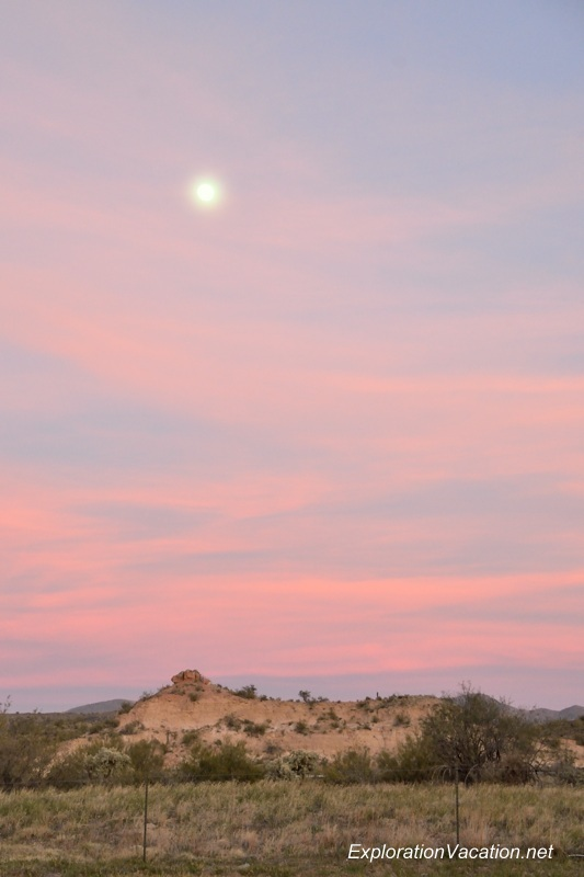 desert landscape with pink sky and moon