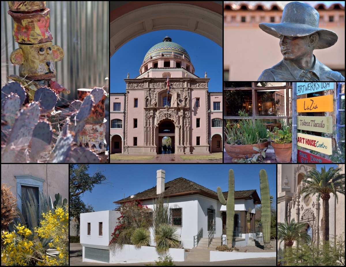 Historic courthouse, house, and other buildings in Old Tucson