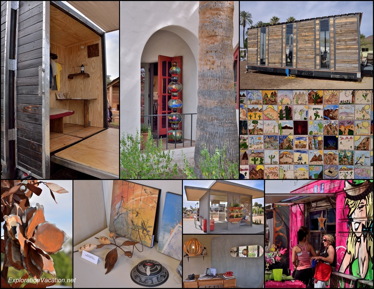 collage of art, buildings, and food trucks