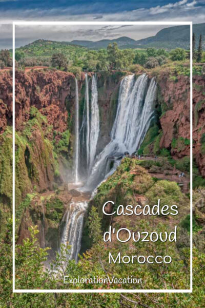 """towering waterfall with text """"Cascades d'Ouzoud Morocco"""""""